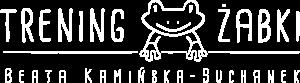 Białe logo Trening żabki. Mindfulness dzieci i nastolatki